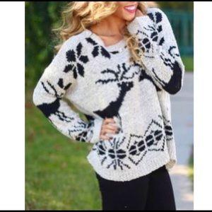 Anthropologie AReve Cozy Deer Sweater